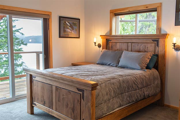 Pictured: One of three bedrooms in the Anglers Lodge in Ketchikan, Alaska