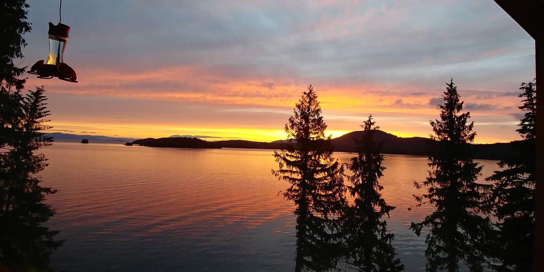Private Oceanside Lodge View of Sunset - Ketchikan, Alaska: Anglers Adventure's Lodge